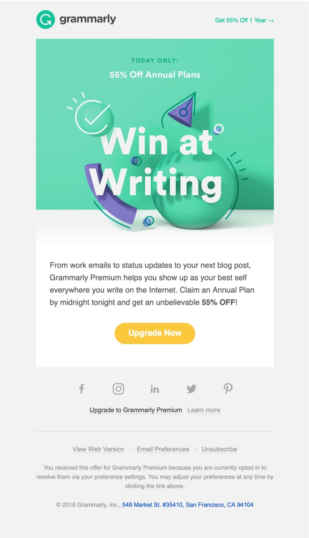 promotional emails 33 examples, ideas, best practices [updated 2019]promotional email example grammarly (sale email)
