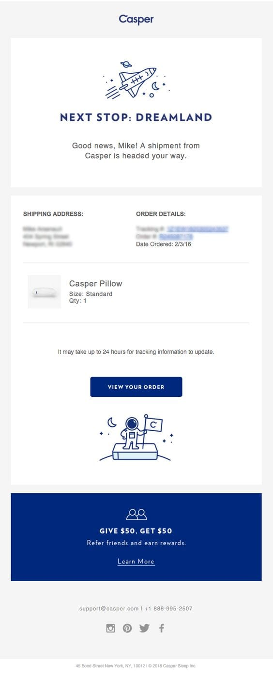 transactional email shipping confirmation casper