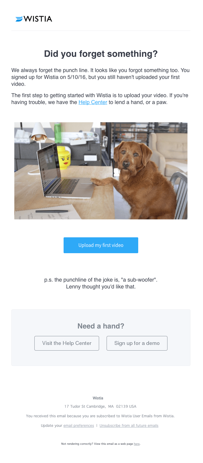 Wistia customer onboarding email feature