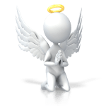 little angel with halo kneeling and praying for self-love