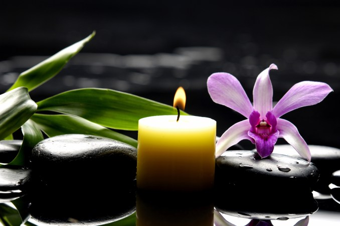 aromatherapy candle and bright orchid on zen stones