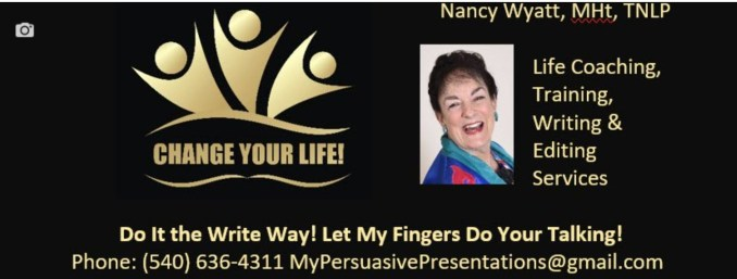 Change Your Life logo with contact info and picture of Nancy Wyatt