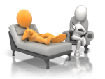 seated hypnotherapist and client on chaise lounge under hypnosis