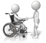 standing figure shaking hands with person in a wheelchair - permission to conduct a wellness session