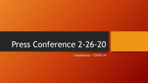 Press Conference - Coronavirus