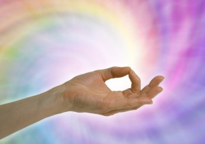 hand with fingers in meditation pose to stress less