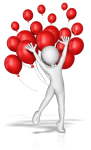 figure celebrating with red balloons