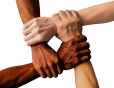 multi-ethnic hands clasped in unity - by truthseeker08