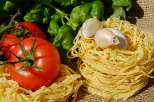 pasta (carbohydrates) and vegetables