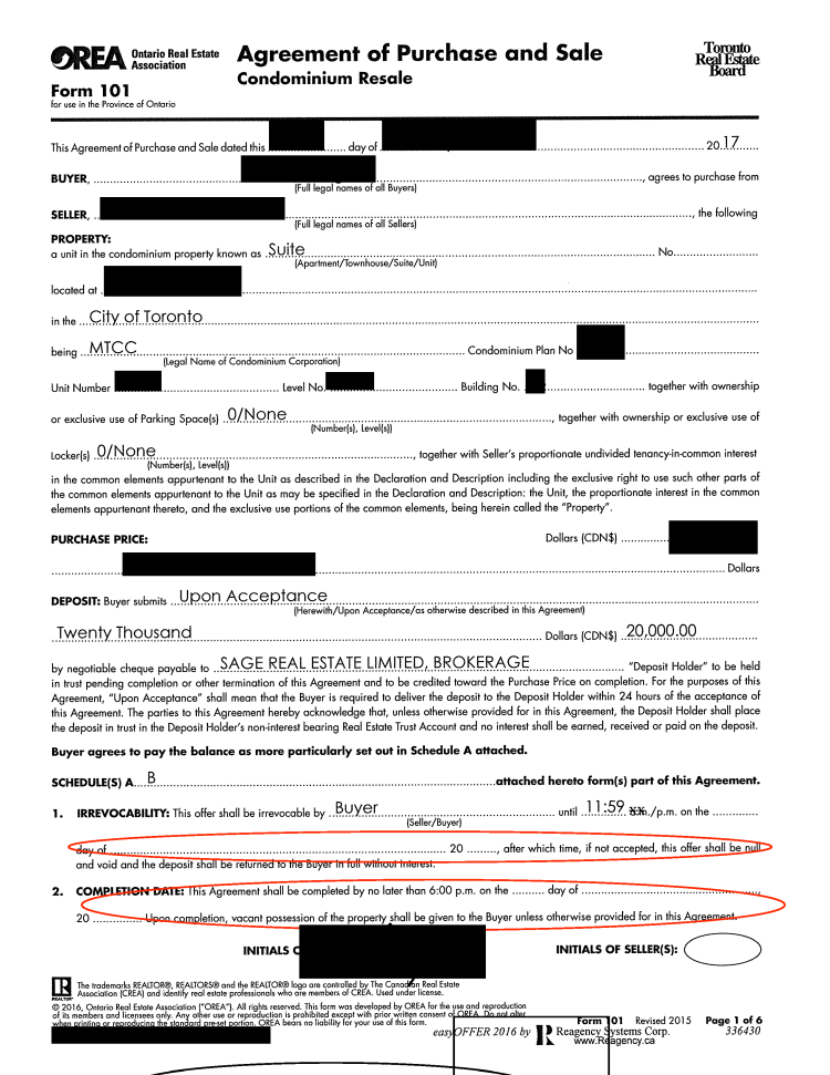 Sloppy real estate offer paperwork page 1