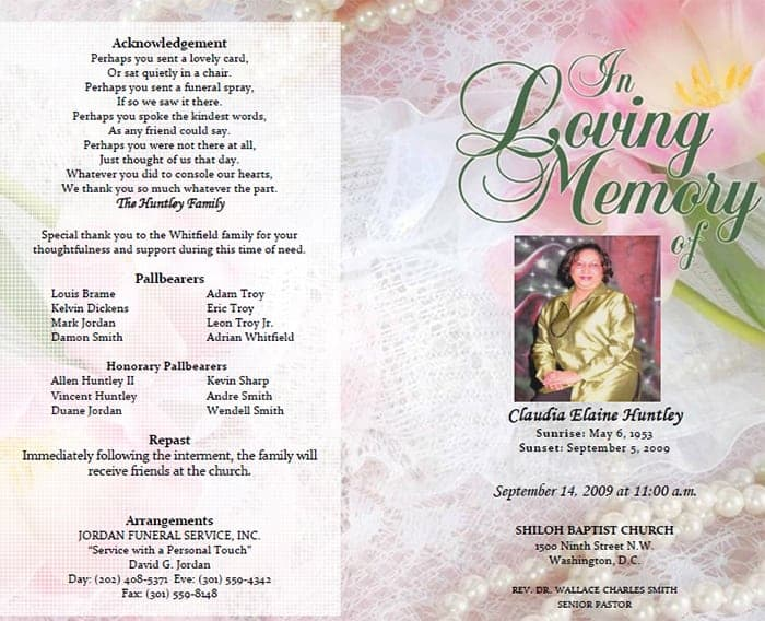 Captivating Funeral Program Image 1  Free Funeral Program Templates Download