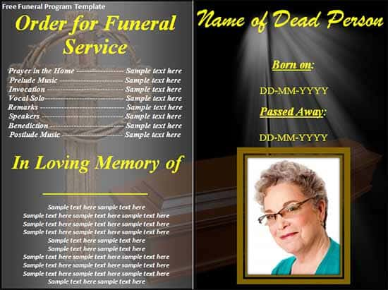 Funeral Service Template Carribean Beach Scene Funeral Program