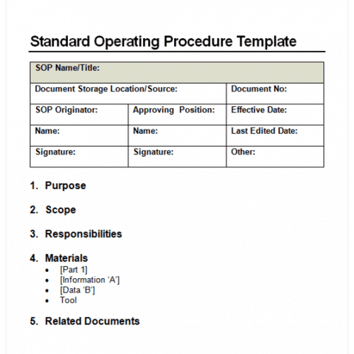 Standard Operating Procedure Manual Example  Manual Format Template
