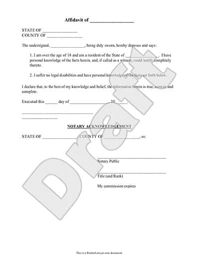 Affidavit Form Template Image 2  General Affidavit Template