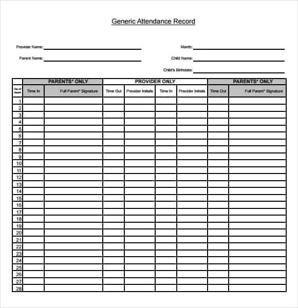 Attendance Chart Template Sample Attendance Chart Template Sample