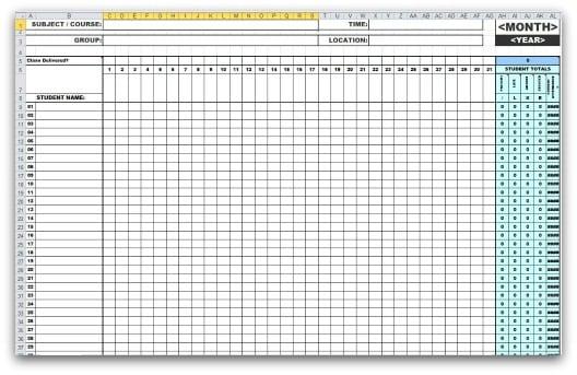 sample of attendance sheet