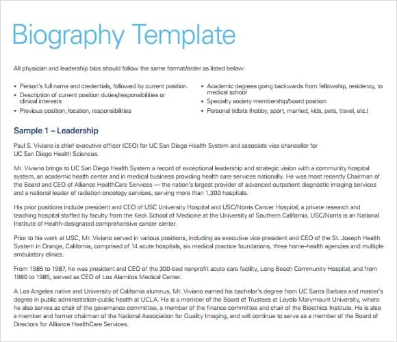 biography template word
