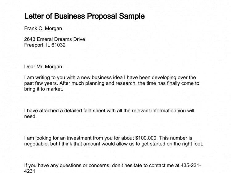 12 Business proposal sample letters Word Excel PDF Formats
