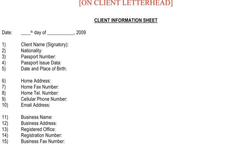 client information sheet template 7