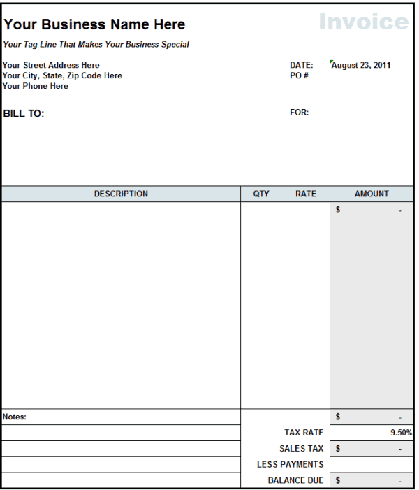 Attractive Contractor Invoice 1 To Contractor Invoice Template Word