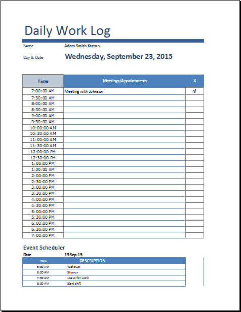 working diary template