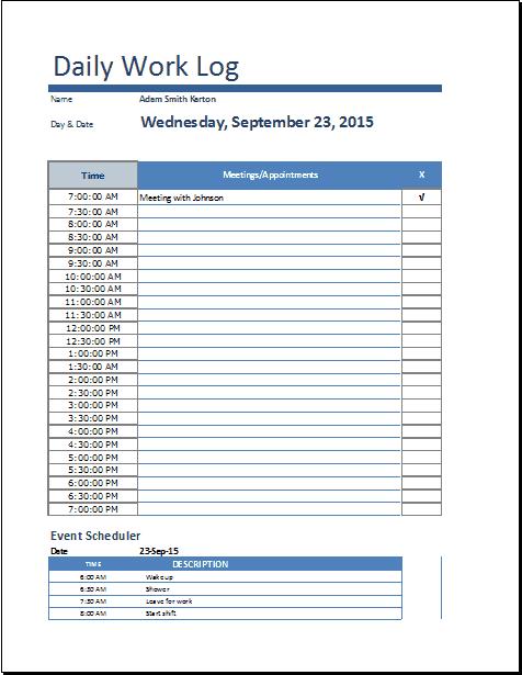 daily task log