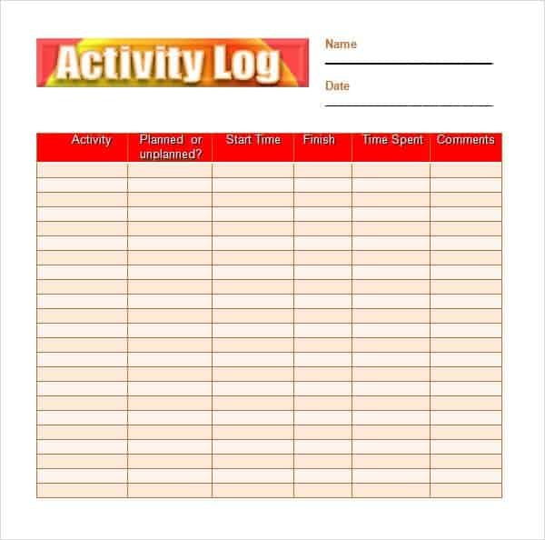Attractive Daily Activity Log Sample Amazing Ideas