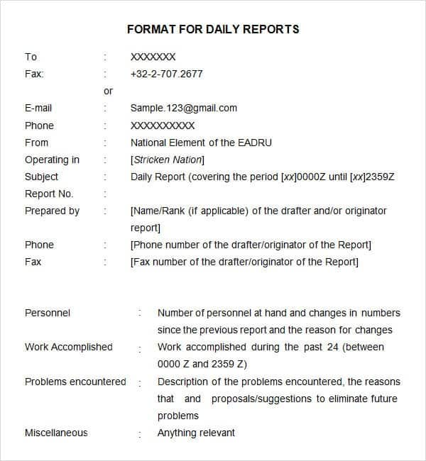 Daily Report Format In Word. Daily Report Image 10