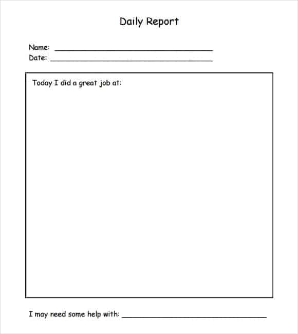Blank Daily Report Template Archives  Word Templates