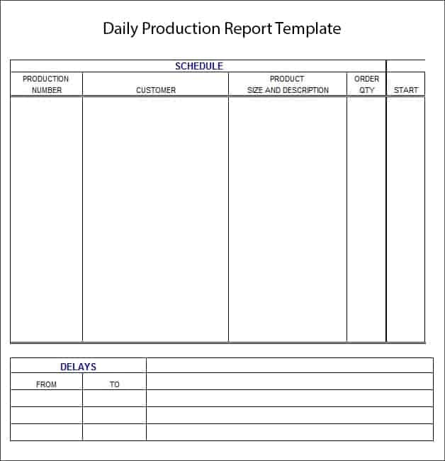 Production Report Template Job Shift Report Template Daily Reports