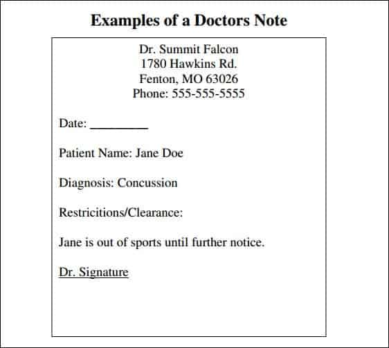 Doctor Note Templates  Word Excel Pdf Formats
