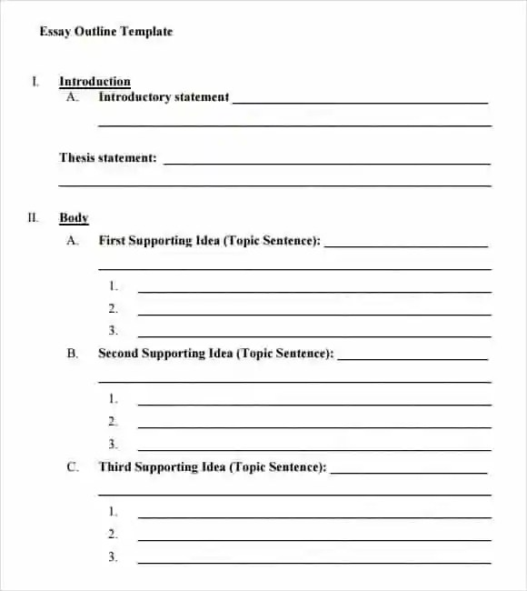 9+ Essay Outline Templates - Word Excel Pdf Formats