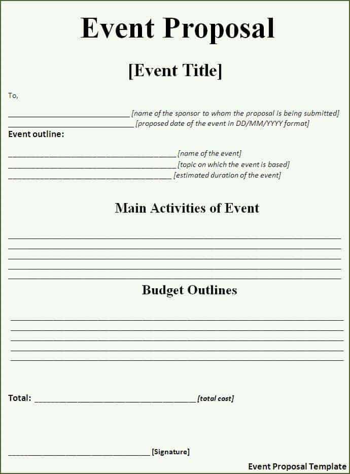 11 Event proposal sample templates Word Excel PDF Formats – Events Proposal Sample
