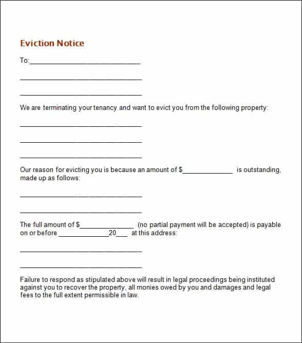 Eviction Notice Templates  Word Excel Pdf Formats