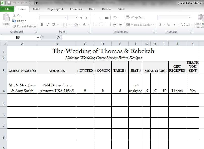 8 Wedding Guest List templates Word Excel PDF Formats – Free Wedding Guest List Template