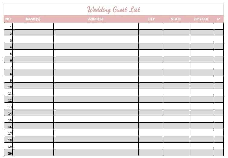 Wedding Guest List Sample