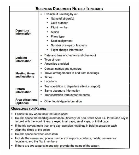 Itinerary Templates  Word Excel Pdf Formats