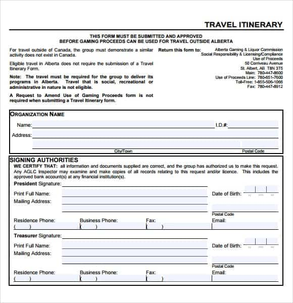 12 Itinerary Templates Word Excel PDF Formats – Business Travel Itinerary Template