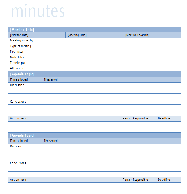 Doc.#425598: Minutes of Meeting Word Template – MS Word Meeting ...