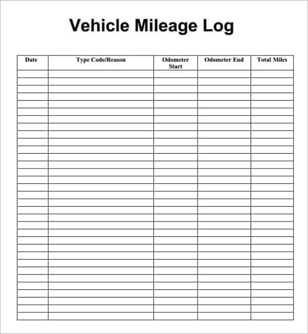 7+ Vehicle mileage log Templates
