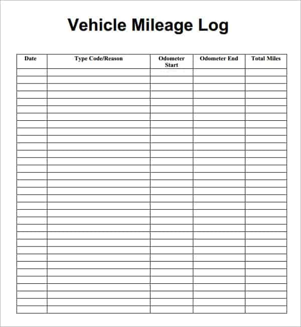 7  vehicle mileage log templates