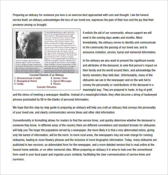 11 obituary templates word excel pdf formats obituary template with photo example pronofoot35fo Gallery