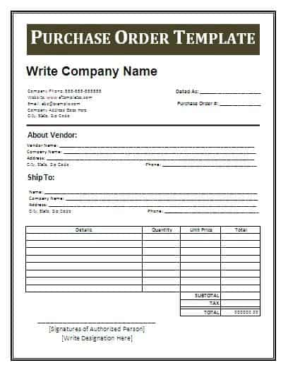 Blank Purchase Order Form For Free