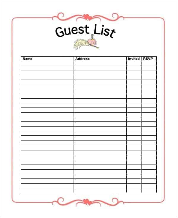 10+ Party guest list templates