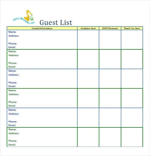 10 Party guest list templates Word Excel PDF Formats – Party Guest List