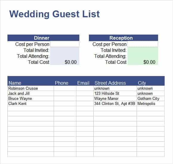 word guest list