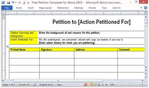 Petition Templates  Word Excel Pdf Formats