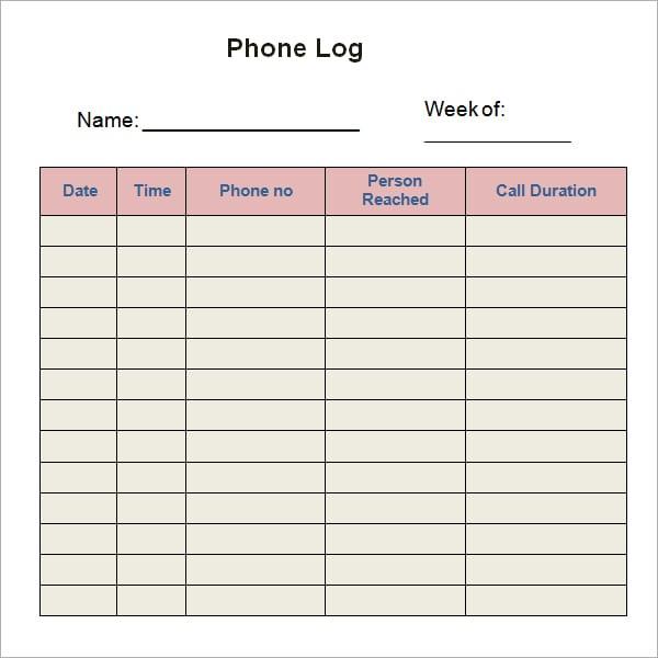 10 phone log templates word excel pdf formats. Black Bedroom Furniture Sets. Home Design Ideas