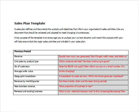 Sales Plan Templates  Word Excel Pdf Formats