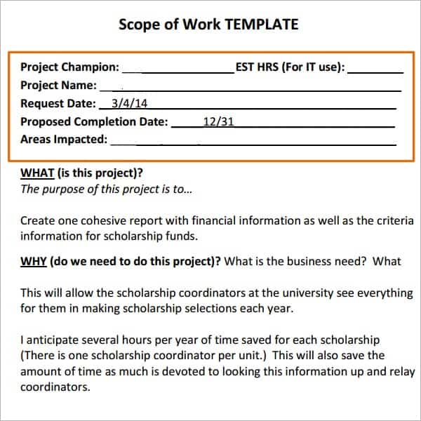 7 construction scope of work templates word excel pdf for Scope of works template free